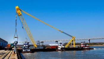 The Ocean Ranger makes its first lift on Sunday, March 2 at Columbus Street. The heavy-lift crane is a fully-mobile barge crane that will service all SCPA terminals.