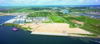 The Berth 7 area of Port Freeport's Velasco Terminal (foreground) is to soon have two post-Panamax cranes in place.