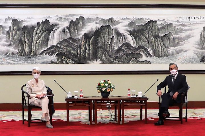 Foreign Minister Wang Yi reiterated requirements from Beijing in Monday's talks in Tianjin with Deputy Secretary of State Wendy Sherman