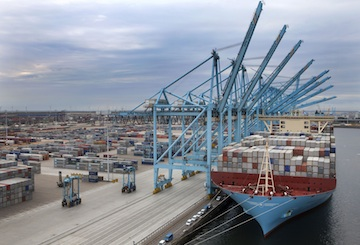 The Maersk McKinney Moller docked at APM Terminals Rotterdam