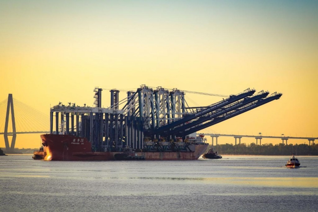 Cranes on the move to the Hugh K. Leatherman Terminal in Charleston Harbor, SC.