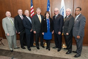 Chairman, Janiece Longoria and the Port Commission of the Port of Houston Authority with new Executive Director Roger Guenther