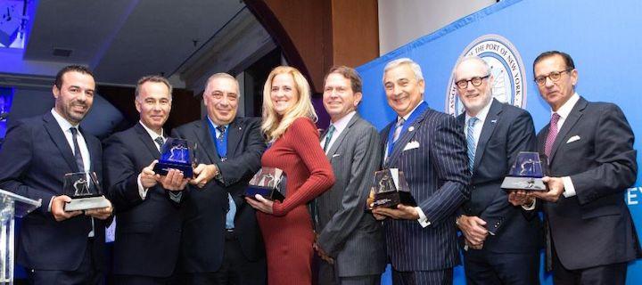 From left: Captain Manolis Alevropoulis; Konsntantinos Koutras; Dr. Nikolas P. Tsakos (honoree); Lois K. Zabrocky (honoree); Jeffrey Pribor; James I. Newsome, III (honoree); Peter Tirschwell; Joseph Ragusa