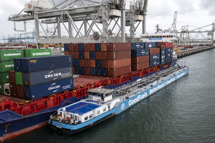 The shortsea container ship Elbsummer is bunkered with biofuel and MGO in the Port of Rotterdam.