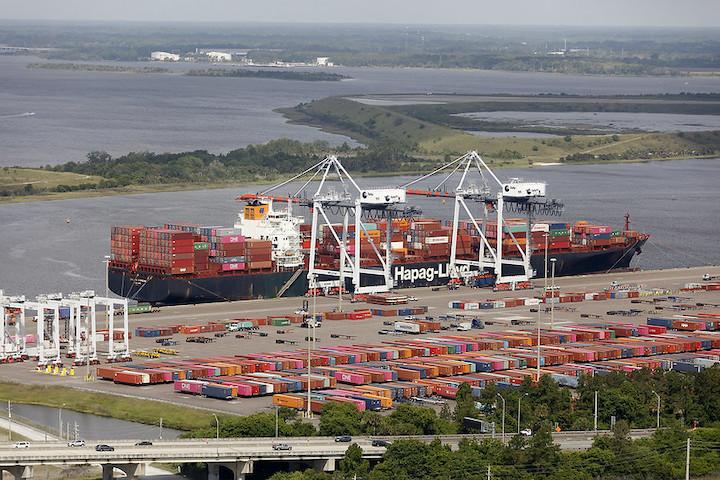 A Hapag Lloyd vessel docked at JAXPORT's TraPac Container Terminal