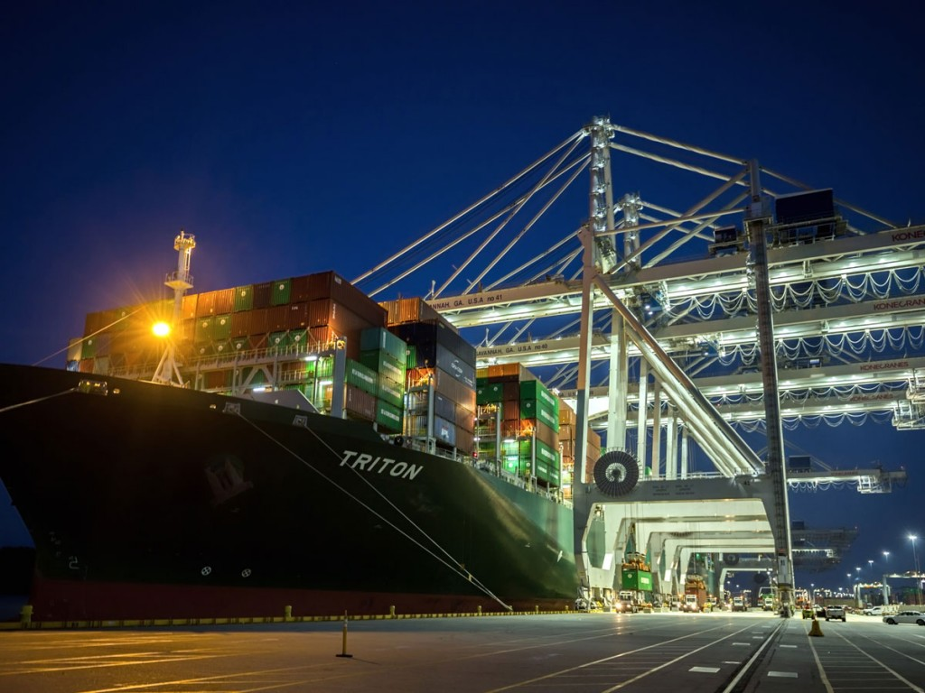 With its ability to carry more than 15,000 twenty-foot-equivalent container units, Evergreen Line's Triton is emblematic of the supersized boxships calling upon the Port of Savannah from Asia following opening of the Panama Canal's wider locks. (Photo credit: Georgia Ports/Stephen Morton)