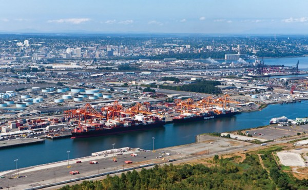 Aerial view of the Port of Tacoma, WA