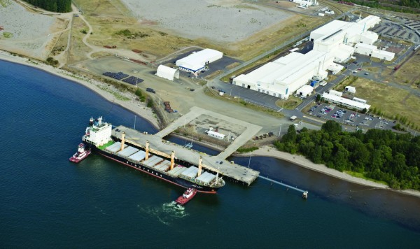 Aerial view of the proposed construction site for the Port of Kalama's $1 billion methanol plant.