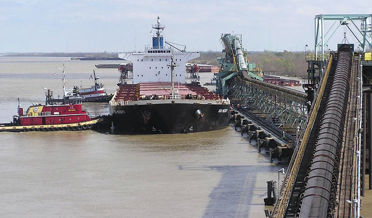 A bulk coal carrier is loaded at Kinder Morgan's International Marine Terminal facility at Myrtle Grove, Louisianna, in Plaquemines Port.