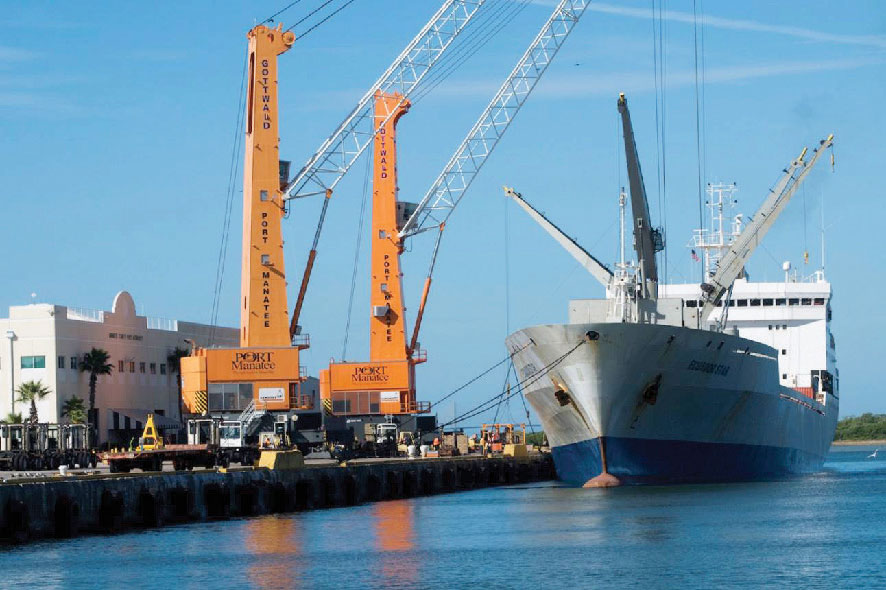 Port Manatee's two Gottwald HMK 3407 mobile harbor cranes boast the greatest tandem lift capacity offered by a Florida port authority.