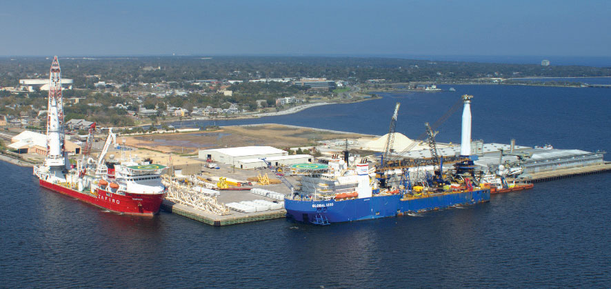 Two large pipe-laying vessels berth at Offshore Inland Marine & Oilfield Services Inc.'s Offshore & Subsea Service Center at the Port of Pensacola.