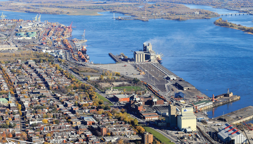 Aerial view of the Port of Montreal