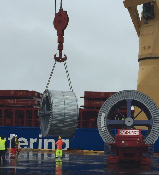 Spools being unloaded from the BBC Ruby at the Port of Davisville, RI