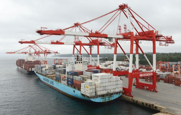 Maersk container vessel docked at Halterm, Port of Halifax