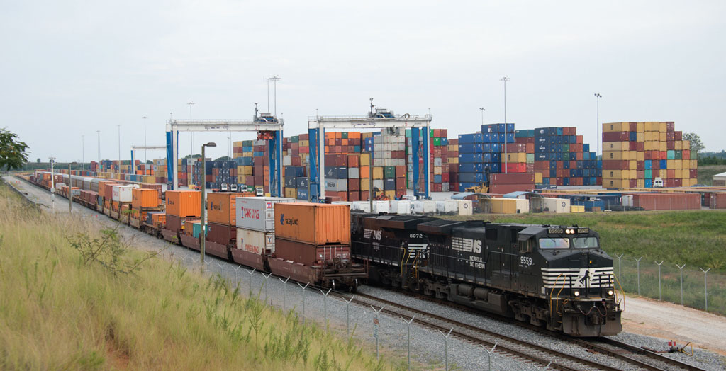 Norfolk Southern trains bring double-stacked containers on their journey inland from seaport facilities.