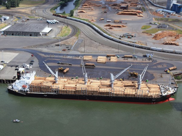 Pacific Lumber & Shipping's operation on the Columbia River at the Port of Longview, Wash., is a key location for bulk shipment of logs.