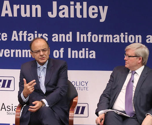 (L to R) Indian finance minister Arun Jaitley, former Australian Prime Minister Kevin Rudd at the Asia Society.