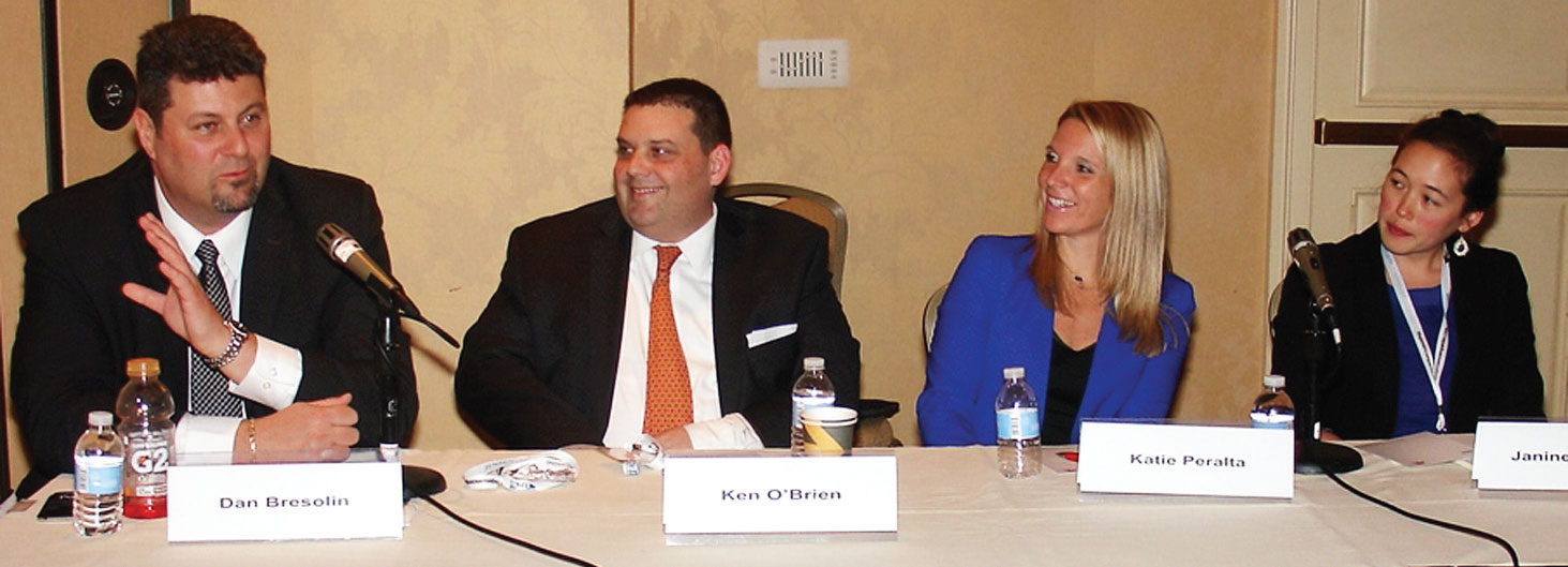 (L to R) Dan Bresolin, Assistant VP of international sales and marketing for intermodal at Canadian National Railway, draws smiles from Kenneth R. O'Brien, chief operating officer of Gemini Shippers Group; Katie J. Peralta, president and co-owner of Triton Stone Group of New Orleans; Janine Mansour, deputy chief commercial officer of the Port of New Orleans. (Photo by Paul Scott Abbott, AJOT)