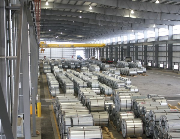 Steel coils are staged for transport at the Alabama Steel Terminals facility at the Port of Mobile.