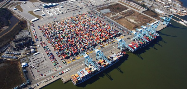 The automated container terminal at the Virginia International Gateway in Portsmouth is the focus of a $320 million project to double its throughput capability