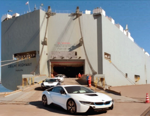 BMW sports cars are offloaded from the Delhi Highway at the recently opened WWL Vehicle Services Americas Inc. facility at the Port of Galveston