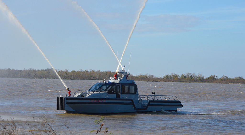 One of two 55-foot monohull vessels of which Plaquemines Port recently took delivery shows off some of its capabilities for response to maritime disasters.