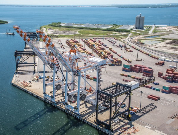 Two new post-Panamax cranes cast a heavy shadow as they join three smaller gantries already in place at Port Tampa Bay's container terminal
