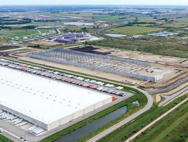 To meet burgeoning demand, a 1,114,575-square-foot warehouse is being built by Saddle Creek Logistics adjoining existing facilities at the CenterPoint Intermodal Center-Joliet, about 60 miles from Chicago.