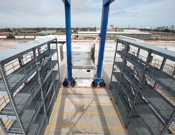 Refrigerated container racking system at the Port of New Orleans' Napoleon Avenue Container Terminal