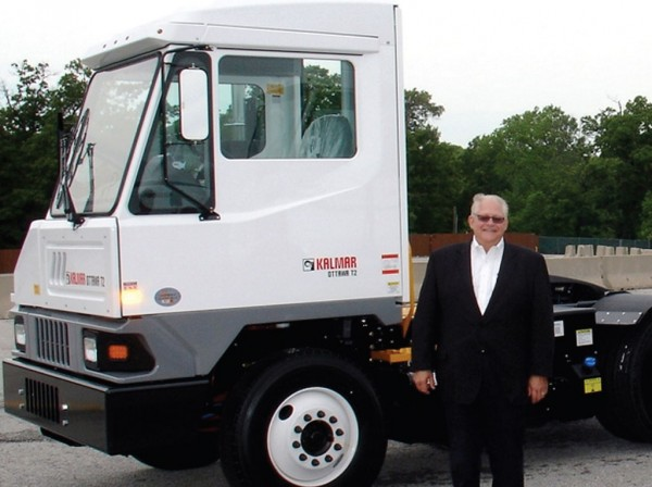 David L. Wood, Vice President of Sales, Marketing and Service for the Americas Region of Kalmar Ottawa Terminal Tractors, is pleased with the company's introduced T2 model. (Photo by Paul Scott Abbott, AJOT)