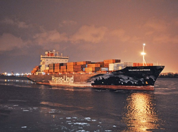 Hapag-Lloyd containership, the Valencia Express, calls regularly at the Port of Montreal which is maintaining a robust pace in box traffic. (Photo courtesy of Montreal Port Authority.)