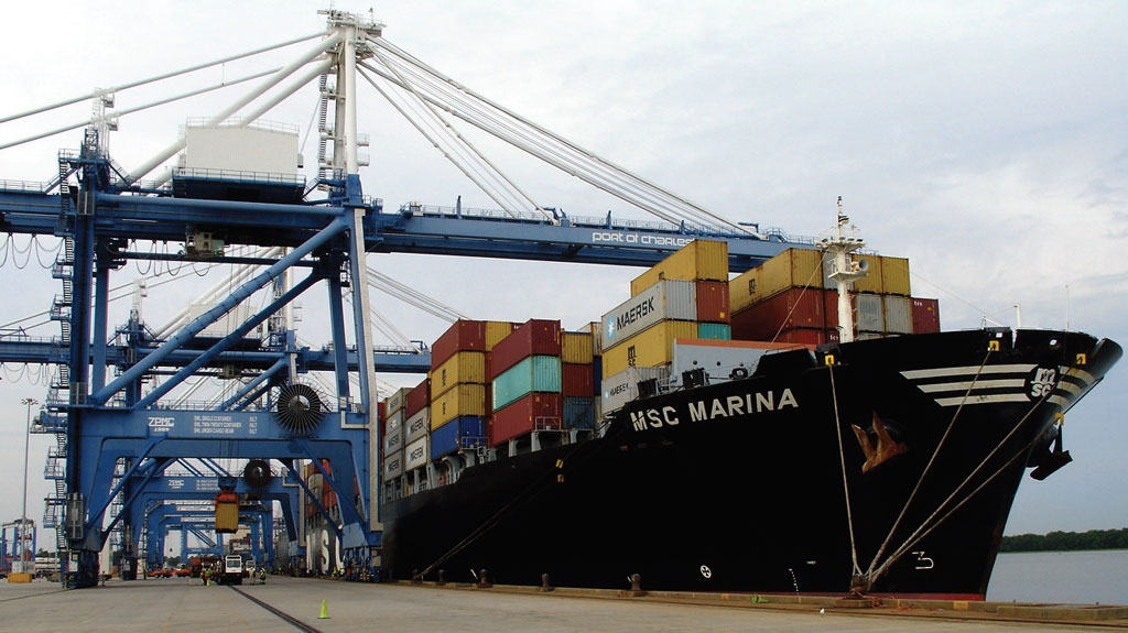 With a capacity of 6,750 twenty-foot-equivalent units, Mediterranean Shipping Co.'s MSC Marina is one of the smaller containerships calling the Port of Charleston these days. (Photo by Paul Scott Abbott, AJOT)