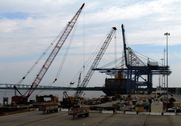 An $85 million wharf refurbishment project advances toward scheduled 2017 completion at the Port of Charleston's Wando Welch Terminal. (Photo by Paul Scott Abbott, AJOT)