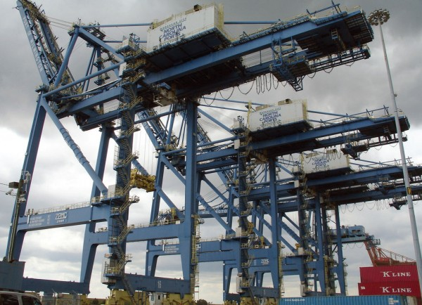 The four post-Panamax cranes already in place at the Port of Wilmington are to be augmented by two or three similar units as part of a $100 million infrastructure plan. (Photo by Paul Scott Abbott, AJOT)