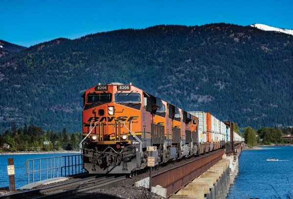 A BNSF train carrying intermodal containers makes it way through scenic Sandpoint in northern Idaho.