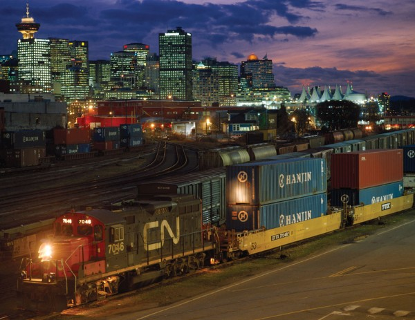 Canadian National Railway Co.'s intermodal terminal at Vancouver, British Columbia, is busy into the night.