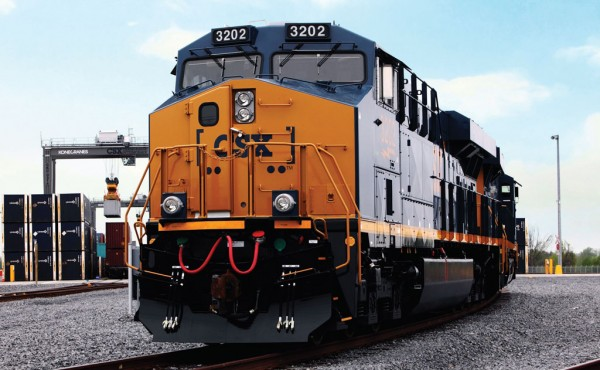 A CSX train departs a terminal in Salaberry-de-Valleyfield, Québec, 40 miles southwest of Montréal.