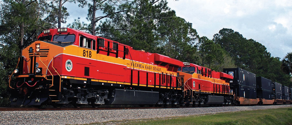 A Florida East Coast Railway intermodal train plies the route paralleling Interstate 95 in the Sunshine State.