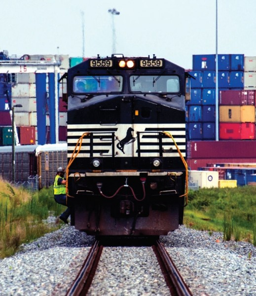 A Norfolk Southern Railway train heads from the inland port facility at Greer, South Carolina.
