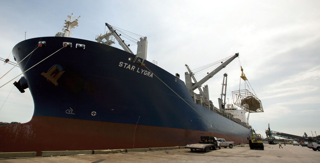 At the Port of Brunswick, Grieg Star's Star Lygra discharges components for a biomass energy plant. (Photo courtesy Stephen B. Morton/Georgia Ports Authority)
