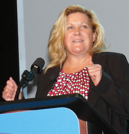 Jerri Parks, Norfolk Southern Railway's director of intermodal and automotive systems, looks excitedly to technology in advancing intermodal efficiencies. (Photo by Paul Scott Abbott, AJOT)
