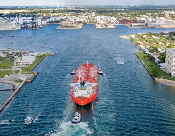 The oil tanker Ellie Lady enters Port Everglades, which, in addition to being a major containerport, has long been home to extensive liquid bulk operations.