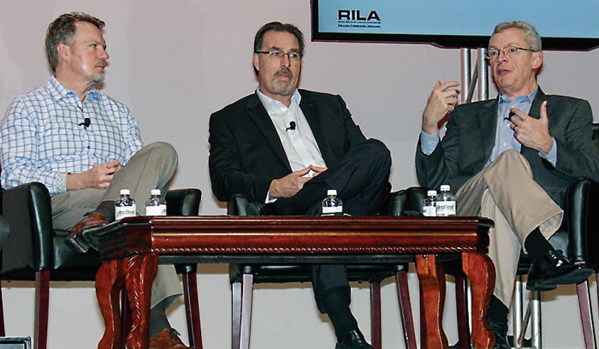 Talking about supply chain efficiencies are, from left, Meijer Inc.'s Mike Graham, CVS Health's Ron Link and Petco Holdings Inc.'s Paul Minor. (Photo by Paul Scott Abbott, AJOT)