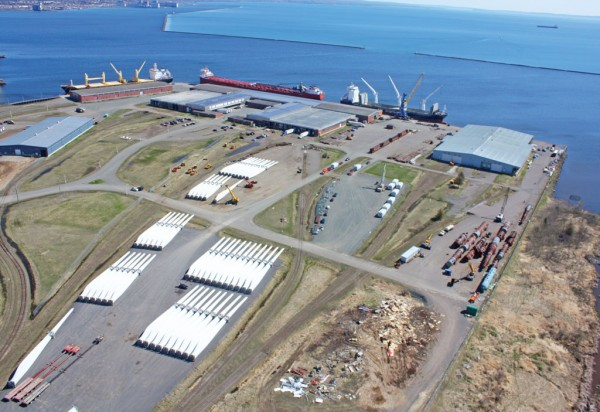 Aerial view of the Port of Thunder Bay Keefer Terminal that is strongly increasing business in wind energy components. (Photo credit: Thunder Bay Port Authority)