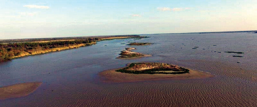Small islands are being created in the Atchafalaya River with shoaling materials removed from the Port of Morgan City area following 2016 flooding.