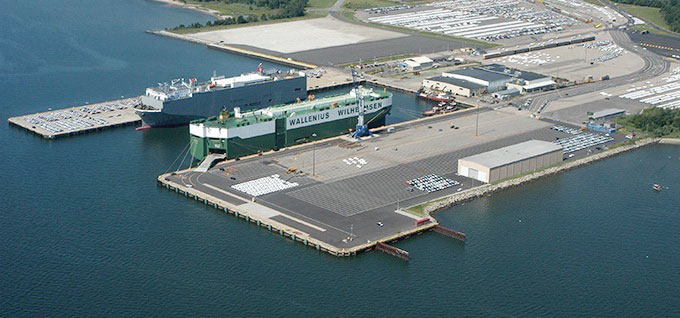 Aerial view of the Port of Davisville, RI