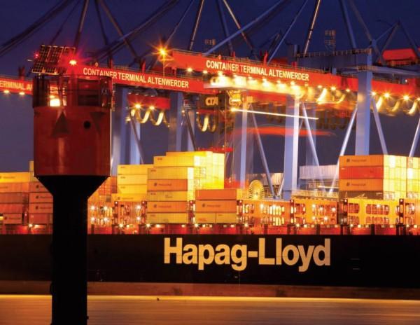 The Hapag Lloyd Kyoto Express docked at the Port of Hamburg