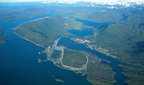 Aerial view of Kaien Island at the Port of Prince Rupert