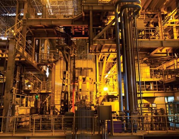 Inside steelmaking plant in Pohang, South Korea