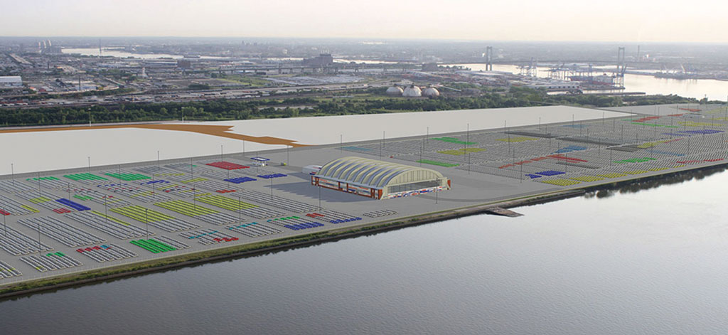 Artist's conception of improvements to a seaplane hangar at the Southport site at the Navy Yard that will be used for vehicle detailing for Hyundai and Kia cars arriving at the Philadelphia port. (Source: Philadelphia Regional Port Authority)